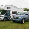 Our modes of transportation and lodging: The Durango and RV!