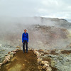 Sammi at a geothermal area along the Laugahraun hike