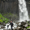 I put on my waters, my water shoes and socks, and went into the stream to try to get a better photo of Svartifoss. It didn't help, the grey sky ruined it all
