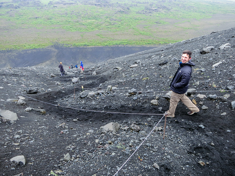 It was a pretty steep decline down the Hverfell crater