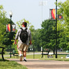 A GWU student walking towards Tucker Student Center during Jumpstart.