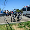 A bicyclist runs into a vehicle on State Street resulting in injuries. (Nathan DeHart-Ukiah Daily Journal)