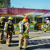 Emergency crews quickly put out the fire at the Golden Penny restaurant. (Nathan DeHart-Ukiah Daily Journal)