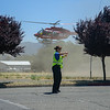 Bicyclist is airlifted to a hospital for injuries sustained after running into a car on State Street. (Nathan DeHart-Ukiah Daily Journal)
