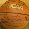 An NCAA basketball, signed by team members, was presented on senior day. The Mount Saint Mary College women's basketball team fell to the Old Westbury Panthers, 73-69, in their Skyline Conference game Sunday, February 23, 2014 at the Kaplan Center in Newburgh, NY. Hudson Valley Press/CHUCK STEWART, JR.