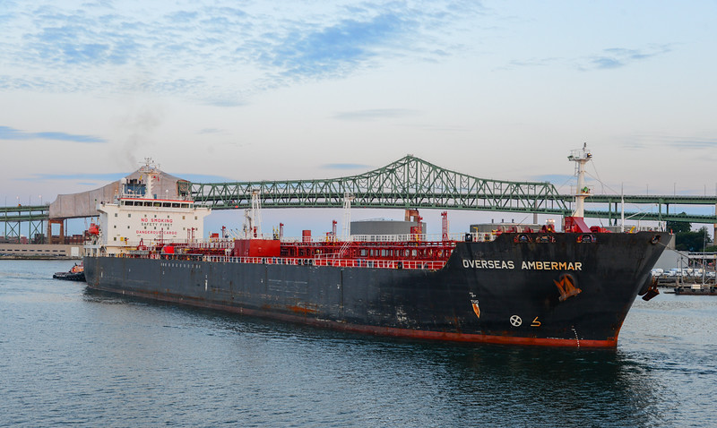 Tanker Overseas Ambermar heads towards Chelsea Creek just before sunrise on August 17, 2014.