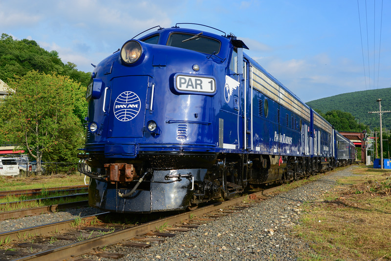 Pan Am's OCS in North Adams on August 20th, 2014. The train will head east to Greenfield later in the Morning,