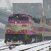 MBTA 1139 takes a Haverhill line train out of North Station at the begining of snow storm on Febuary 15, 2014.