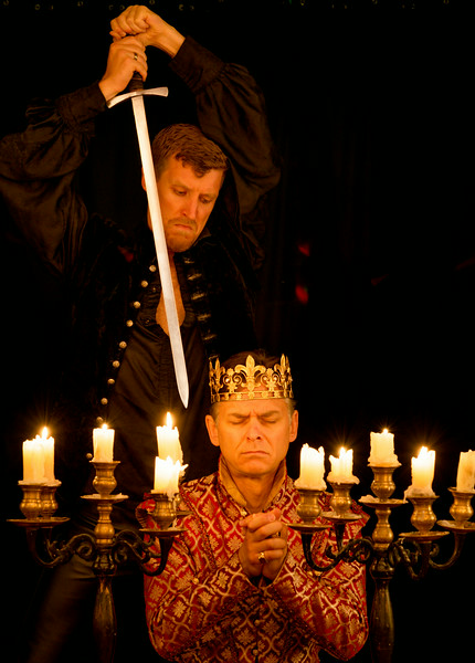 Ben Gorman as Claudius and Patrick Earl as Hamlet in HAMLET.  Photo by Michael Bailey.