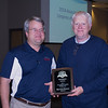 Donnie Priest receives the 2014 Umpire of the Year for the North Georgia Amateur Umpire Association (NGAUA) from Powell Hazzard at the 2015 Georgia ASA State Umpire Clinic in Douglasville, GA on January 24, 2015.