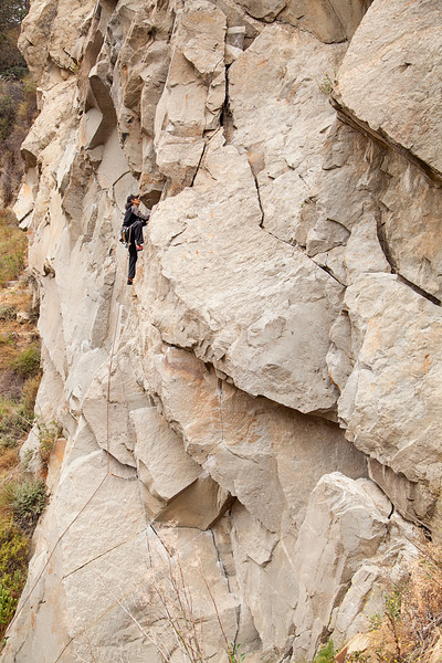 Jeff moves up a 5.9 at Tic Rock in L.A., an excellent piece of sandstone alongside the highway.