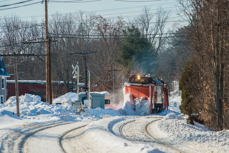 MBTA plow train comming into Shirley on Fitchburg.