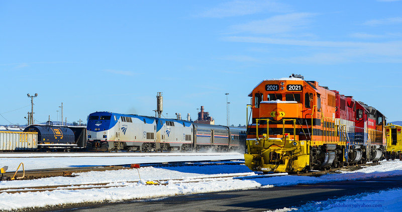 The Boston section of the Lake Shore Limited passes through West Springifeld Yard on January 25, 2015.