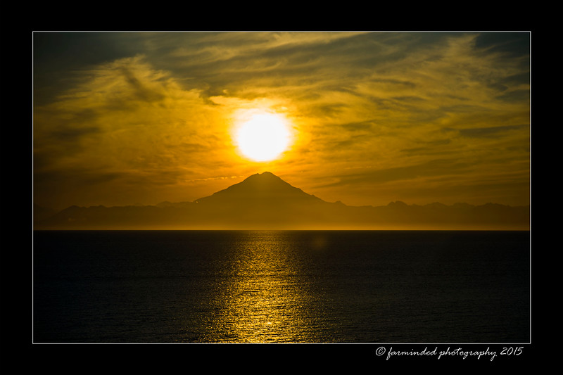 Mt. Redoubt as the Sun falls from the sky.