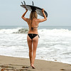 Nikon D800E Photos Pretty Blond Swimsuit Bikini Model Goddess & Black Surfboard: 70-200mm VR2 Nikkor F/2.8 Zoom