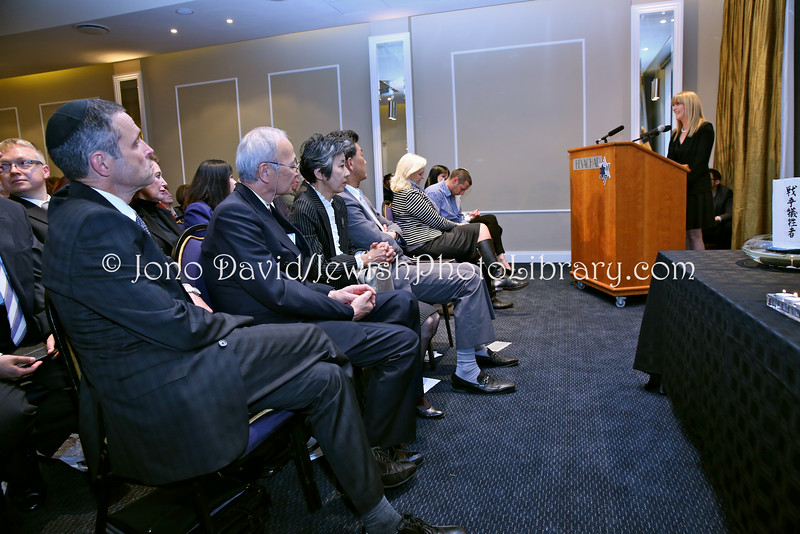 ZA 18760  Tali Nates, Director of the JH&GC, speaks at   Tribute to Chiune Sugihara, Righteous Among the Nations, at Beyachad  Johannesburg, South Africa