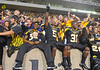 SEP 08 2012:Appalachian State Mountaineers players celebrate with fans after victory against the Montana Grizzlies at Kidd Brewer Stadium in Boone NC. Appalachian State Mountaineers defeated Montana Grizzlies with a final score of 35 to 27.