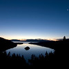 Early morning sunrise on Emerald Bay with a setting moon, South Lake Tahoe, CA