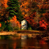 Small House surrounded by colorful trees, Stoner Lakes, Adirondacks