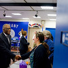 President Jones visits with students and administrators at Albany High School.  Photographer: Paul Miller