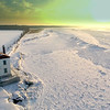 Fairport Harbor West Breakwater Lighthouse and Frozen Lake Erie at Sunset