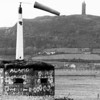 Second World War Pillbox situated on the dyke to the south of Ards airfield. Pictured here during December 1984. The tail-boom is from a crashed Miles Aerovan, put to practical use as a windsock!