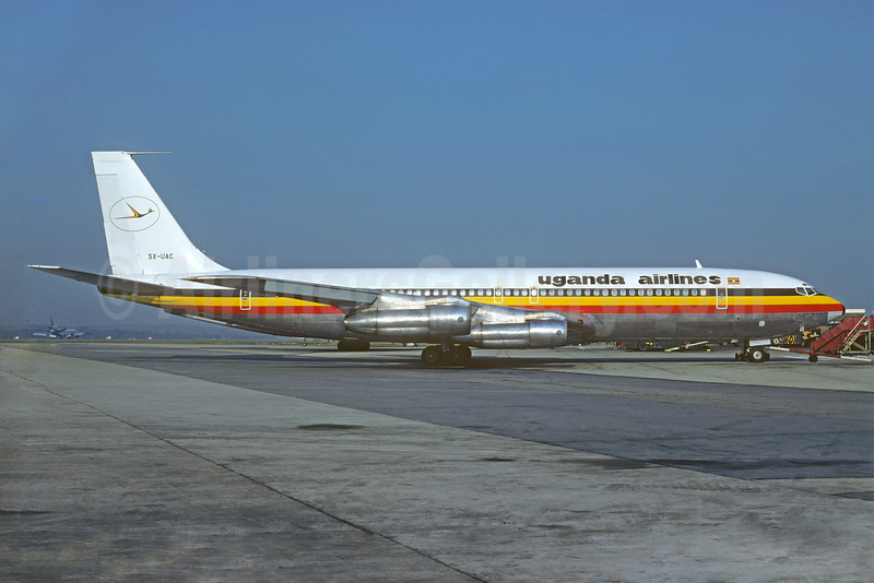 Uganda Airlines Boeing 707-351C 5X-UAC (msn 18747) LGW (Christian Volpati Collection). Image: 923329.