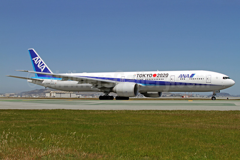 ANA (All Nippon Airways) Boeing 777-381 ER JA734A (msn 32649) (Tokyo 2020 - Japan's bid to host the 2020 Olympic and Paralympic Games in Tokyo) SFO (Mark Durbin). Image: 911887.