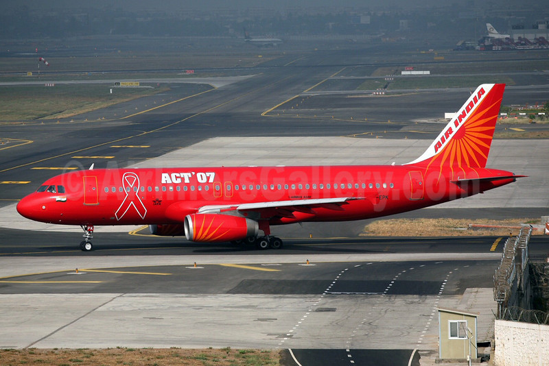 Air India Airbus A320-231 VT-EPK (msn 058) (ACT '07 - World AIDS Day) BOM (John Adlard). Image: 912920.