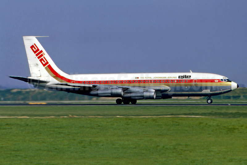 Alia-The Royal Jordanian Airline Boeing 720-030B JY-ADT (msn 18251) LHR (SM Fitzwilliams Collection). Image: 923137.