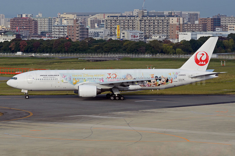JAL-Japan Airlines Boeing 777-246 JA8985 (msn 27652) (Tokyo Disney Resort - 30th Anniversary) FUK (TMK Photography). Image: 922349.
