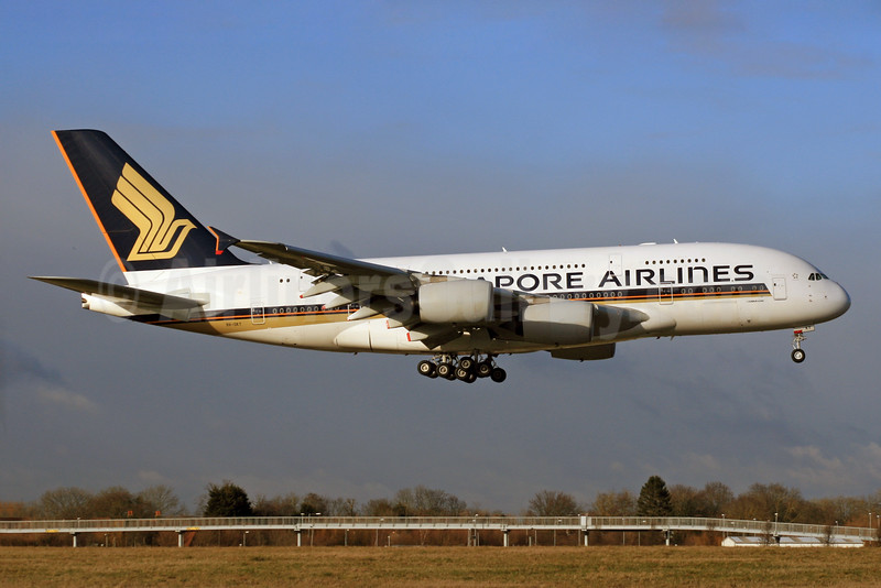 Singapore Airlines Airbus A380-841 9V-SKT (msn 092) LHR (SPA). Image: 927428.