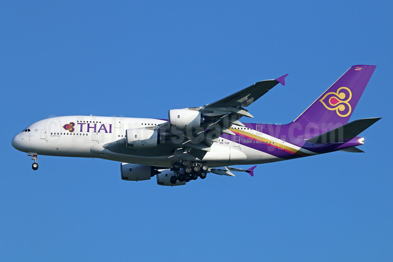 Thai Airways International Airbus A380-841 HS-TUF (msn 131) BKK (Michael B. Ing). Image: 923696.