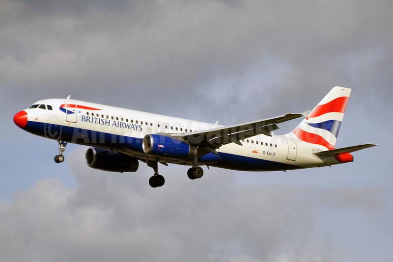 British Airways Airbus A320-232 G-EUUK (msn 1899) (red nose) LHR (Karl Cornil). Image: 920235.