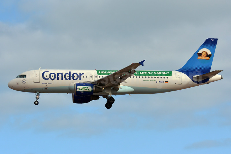 Condor Flugdienst Airbus A320-212 D-AICC (msn 809) (Heavenly Holidays. Simply Saxony) LPA (Paul Bannwarth). Image: 926553.