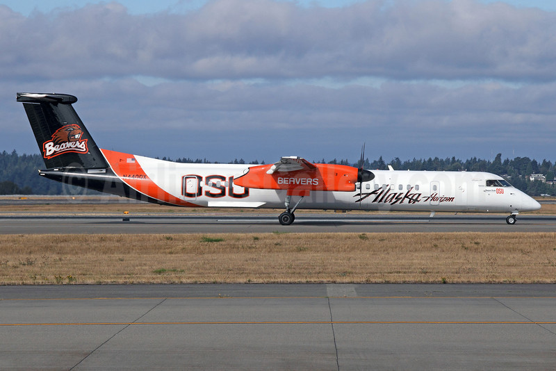 Alaska Horizon (Horizon Air) Bombardier DHC-8-402 (Q400) N440QX (msn 4347) (Oregon State University-OSU Beavers) SEA (Michael B. Ing). Image: 920125.