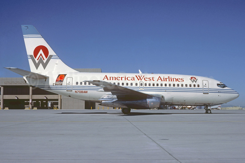 America West Airlines Boeing 737-112 N708AW (msn 19771) (Phoenix Suns) PHX (Christian Volpati Collection). Image: (21914.