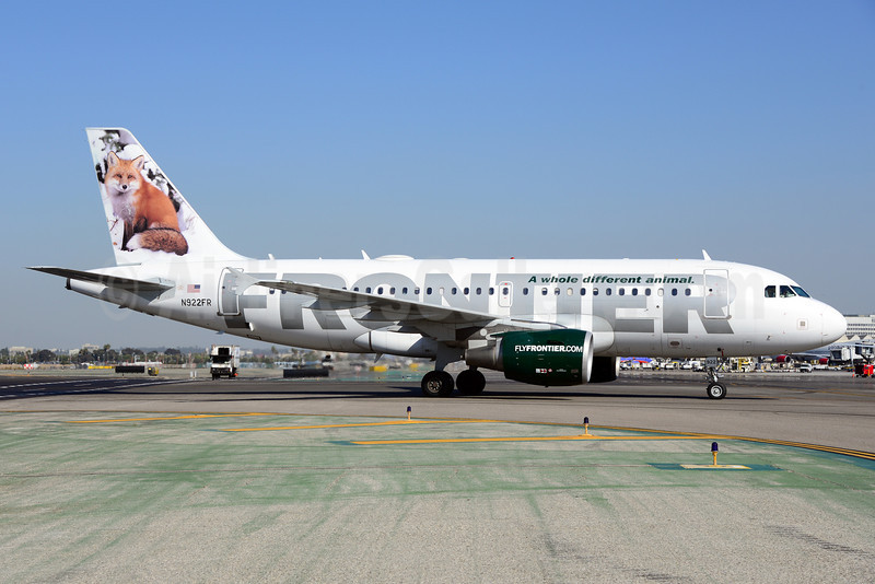 Frontier Airlines (2nd) Airbus A319-111 N922FR (msn 2012) (Red Fox) LAX (Ton Jochems). Image: 920993.
