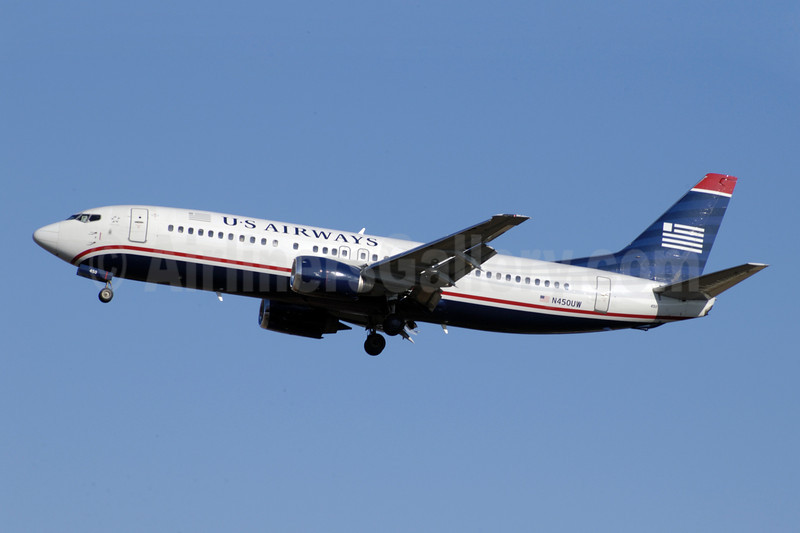 US Airways Boeing 737-4B7 N450UW (msn 24933) CLT (Jay Selman). Image: 402092.