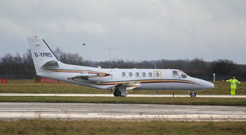A diversion from Leeds......Executive Aviation Services, Cessna 550B Citation Bravo G-YPRS arrived at 09:10<br /> By Jim Calow.