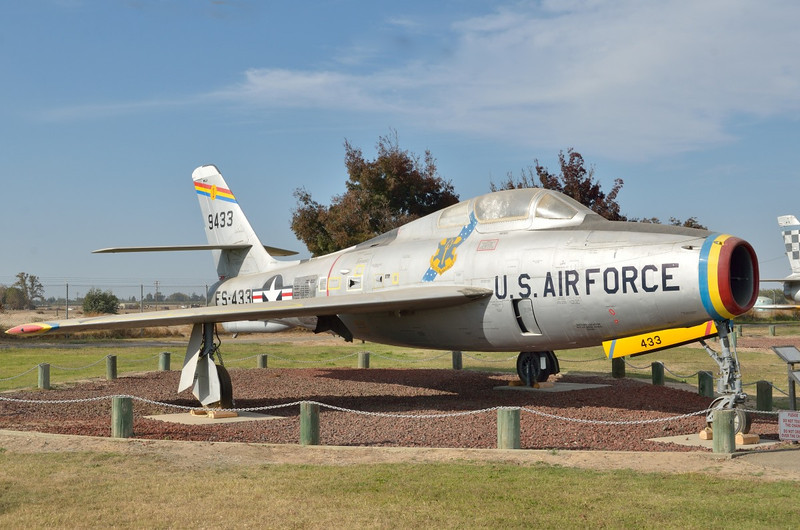 Republic F-84 F Thunder Streak<br /> Serial 51-9433<br /> First flown in 1950. More than 2,700 F-84F versions were produced. The last F-84s were retired in 1971.