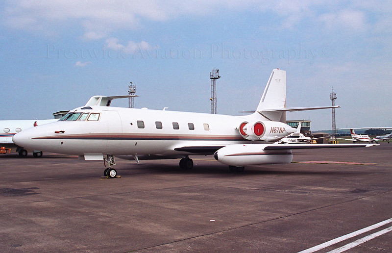 N57NP. Lockheed L-1329 Jetstar. Private. Prestwick. 1990`s.  Negative scan.