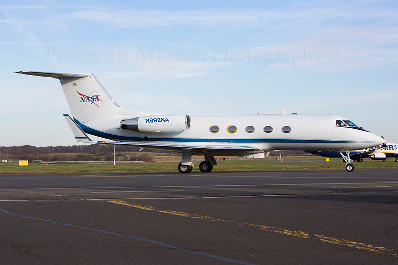 N992NA. Gulfstream American G-1159A Gulfstream III. NASA. Prestwick. 110314.  Seen arriving at the RSS Jet Centre with astronaut Mike Hopkins on board. He was returning state side after serving on the International space station.