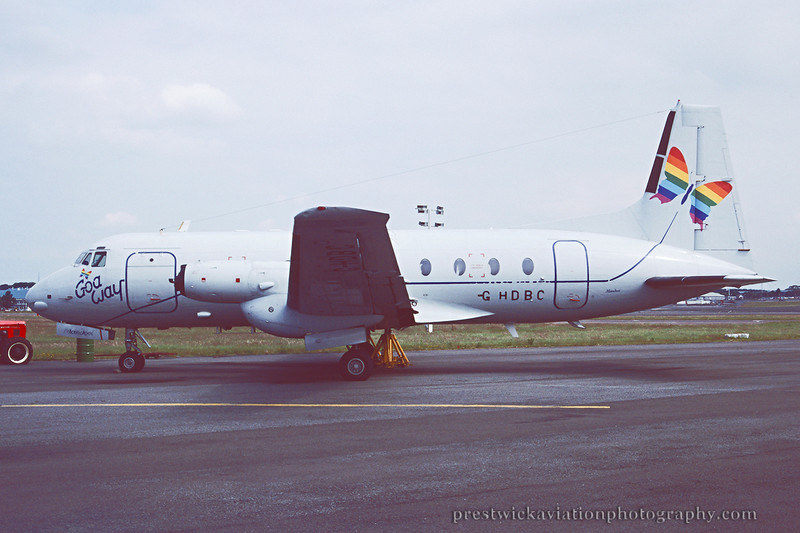 G-HDBC. Hawker Siddeley HS-748 Srs2A. Goa Way. Prestwick. August 1994.