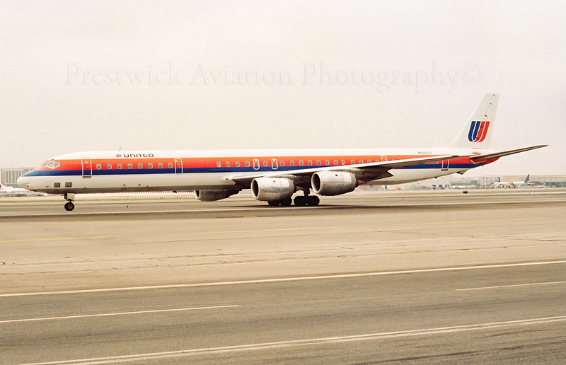 N8083U. McDonnell Douglas DC-8-71. United. Los Angeles. 1990`s.  Negative scan.