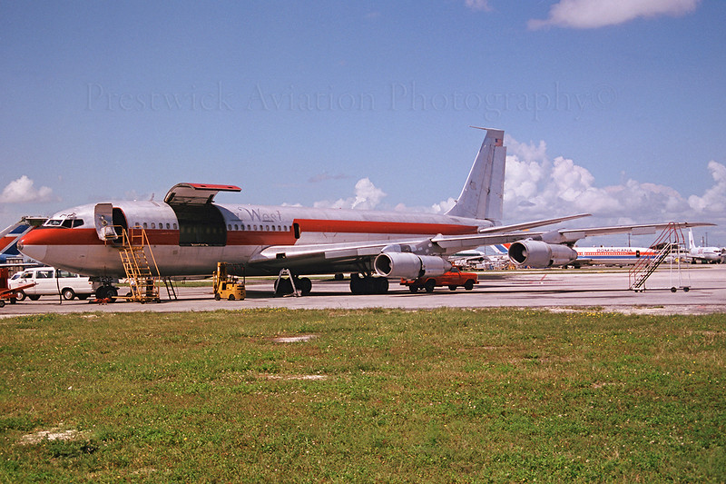 N202DJ.  Boeing 707-321C. Buffalo Airways. Miami. 1990`s.  Leased from Florida West Negative scan.