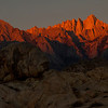 Early sunrise hits Mt. Whitney.  This is the highest peak on the continental United States.