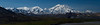 """Mt. McKinley (Denali) as seen from the Eielson visitors center in Denali National Park.  4 to 1 aspect ratio so prints at 5x20, 6x24, 8x32, 10x40, 12x48 etc. are recommended for this image.  Suitable for prints up to 45 inches wide without pixelation.  This is a panoramic shot consisting of 15 separate photos with the camera oriented vertically.  The 15 photos were then """"stitched"""" together in Photoshop rendering one high-resolution final image.  I highly recommend prints to be done on metallic paper for best printed result."""