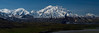 """Mt. McKinley (Denali) as seen from the Eielson visitors center in Denali National Park.  3 to 1 aspect ratio so prints at 5x15, 6x18, 8x24, 10x30, 11x33, 12x36, 16x48 etc. are recommended for this image.  Suitable for prints up to 45 inches wide without pixelation.  This is a panoramic shot consisting of 15 separate photos with the camera oriented vertically.  The 15 photos were then """"stitched"""" together in Photoshop rendering one high-resolution final image.  I highly recommend prints to be done on metallic paper for best printed result."""