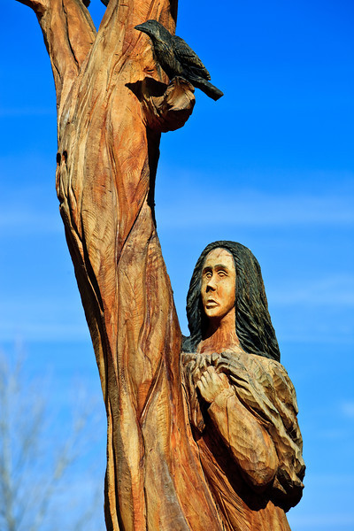 Wood carving at the Pueblo Montano Trail Head